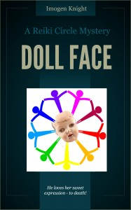 murder mystery writer Imogen Knight:  Doll Face Book Cover graphic